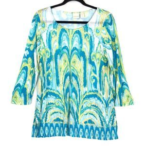 Chico's blue green Ikat Printed Tunic Top A0467